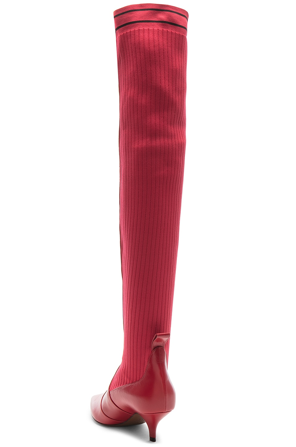 Image 3 of Fendi Rockoko Thigh High Boots in Red