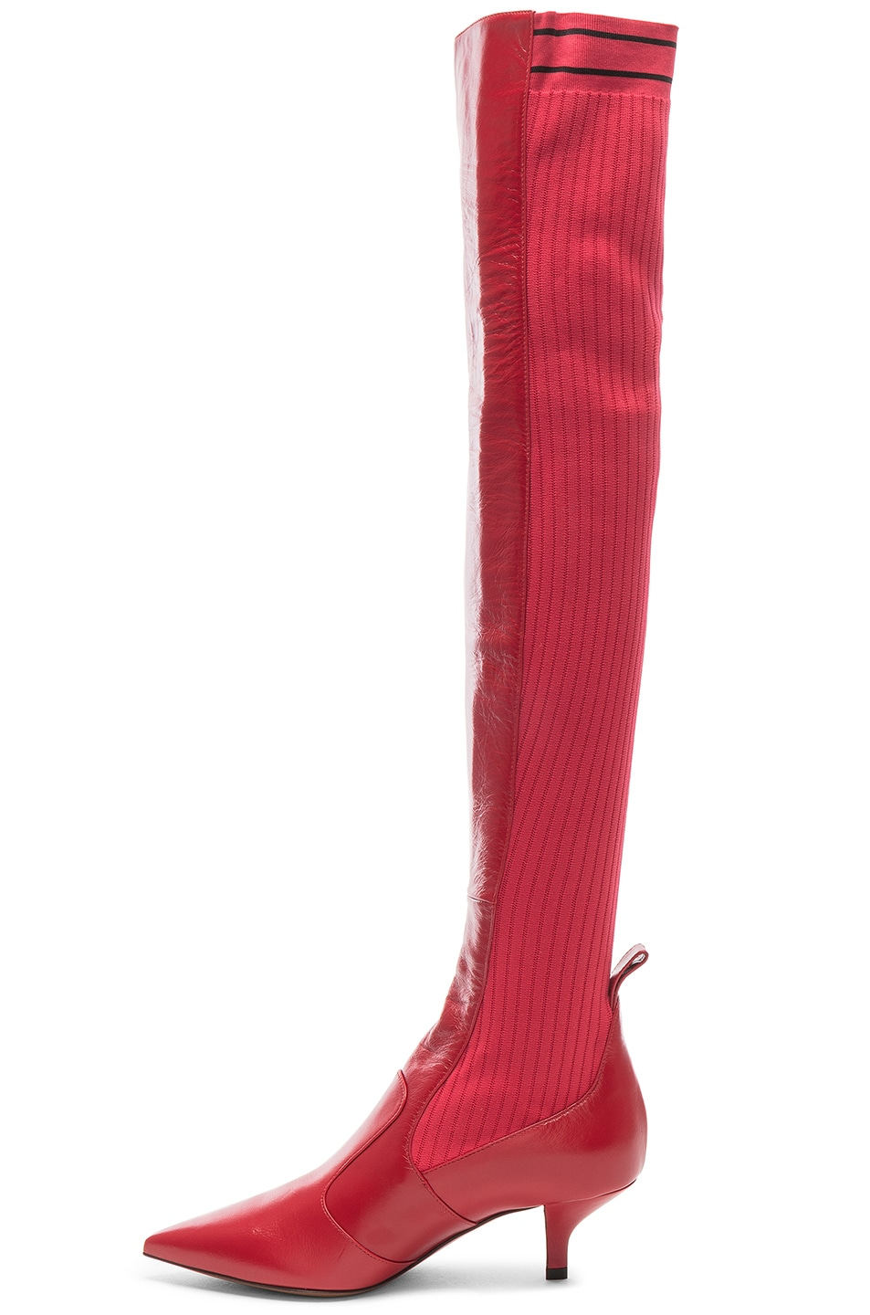 Image 5 of Fendi Rockoko Thigh High Boots in Red