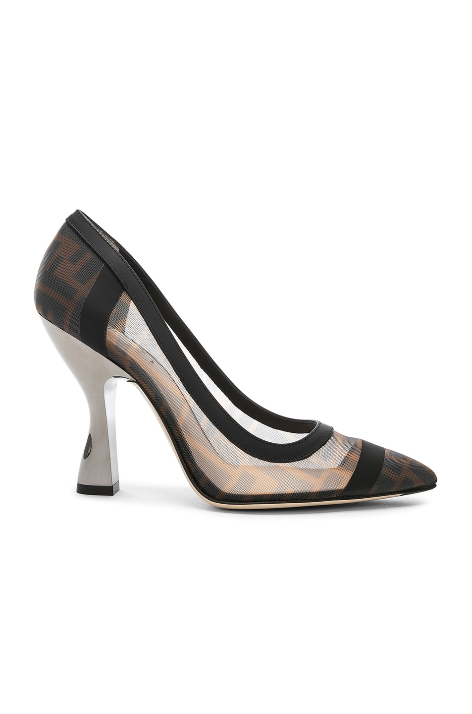 Image 1 of Fendi Colibri Mesh Logo Pumps in Black & Brown
