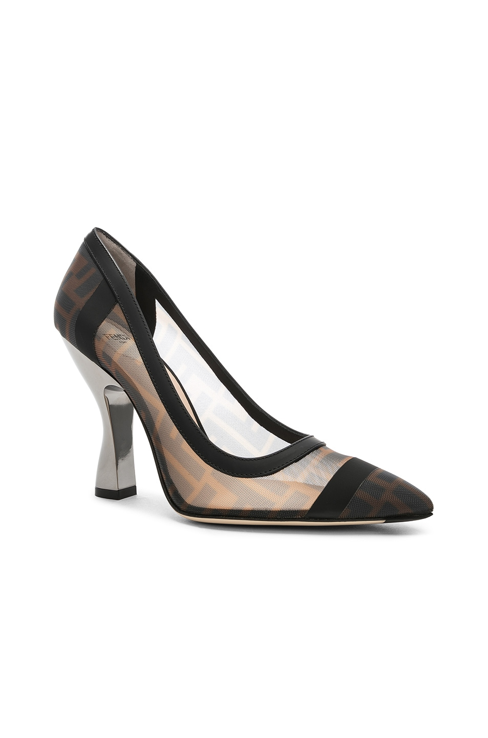 Image 2 of Fendi Colibri Mesh Logo Pumps in Black & Brown
