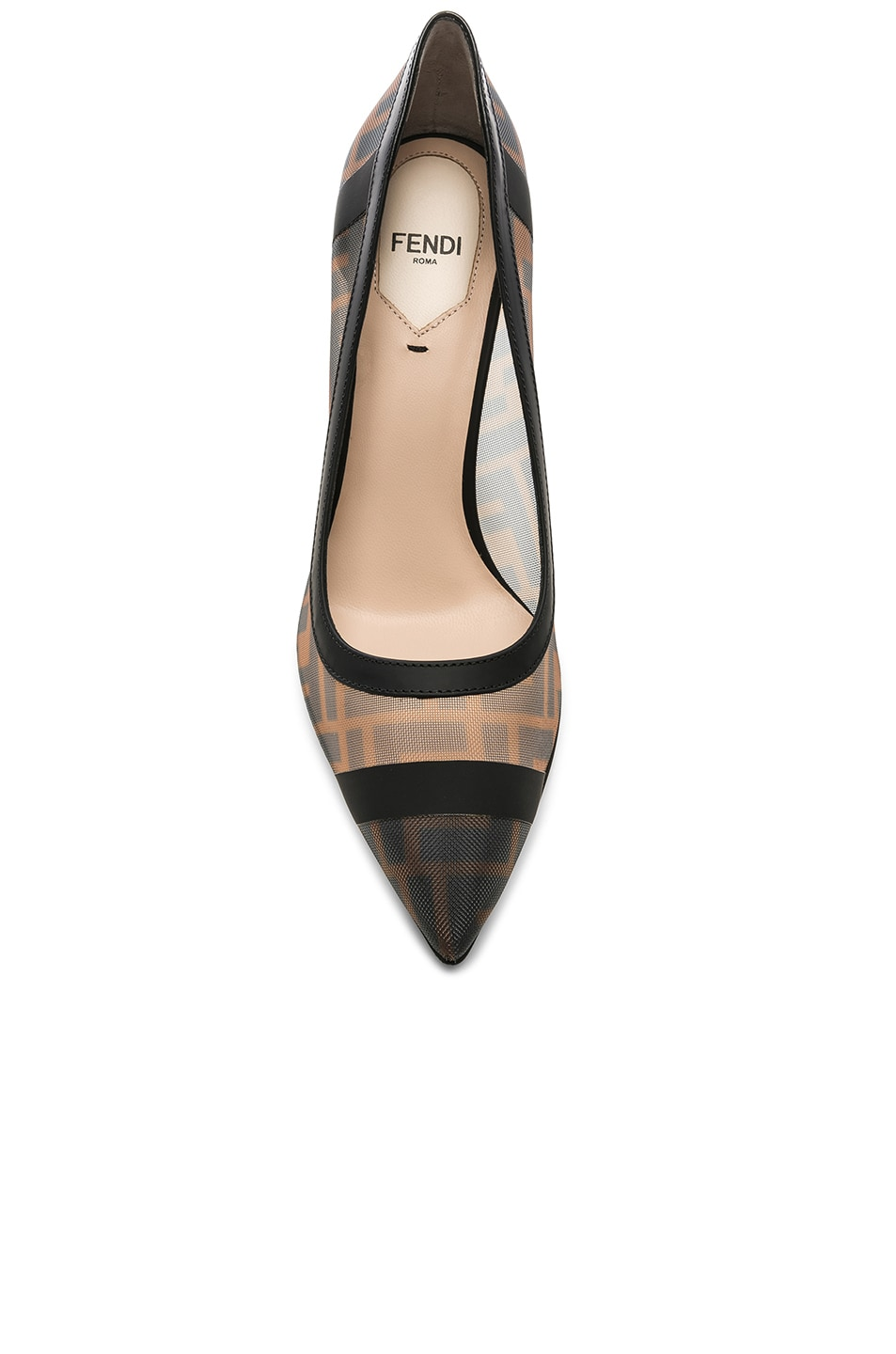 Image 4 of Fendi Colibri Mesh Logo Pumps in Black & Brown