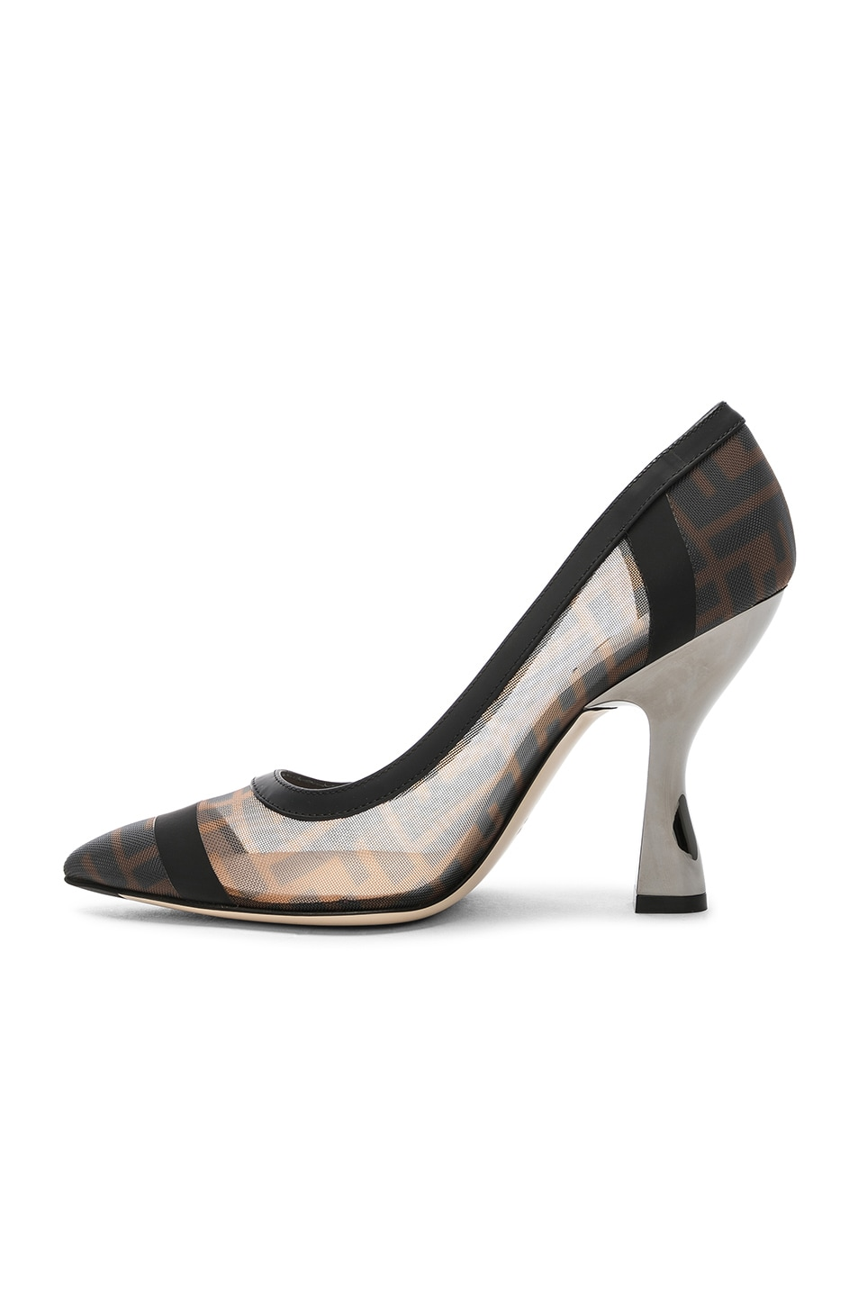 Image 5 of Fendi Colibri Mesh Logo Pumps in Black & Brown