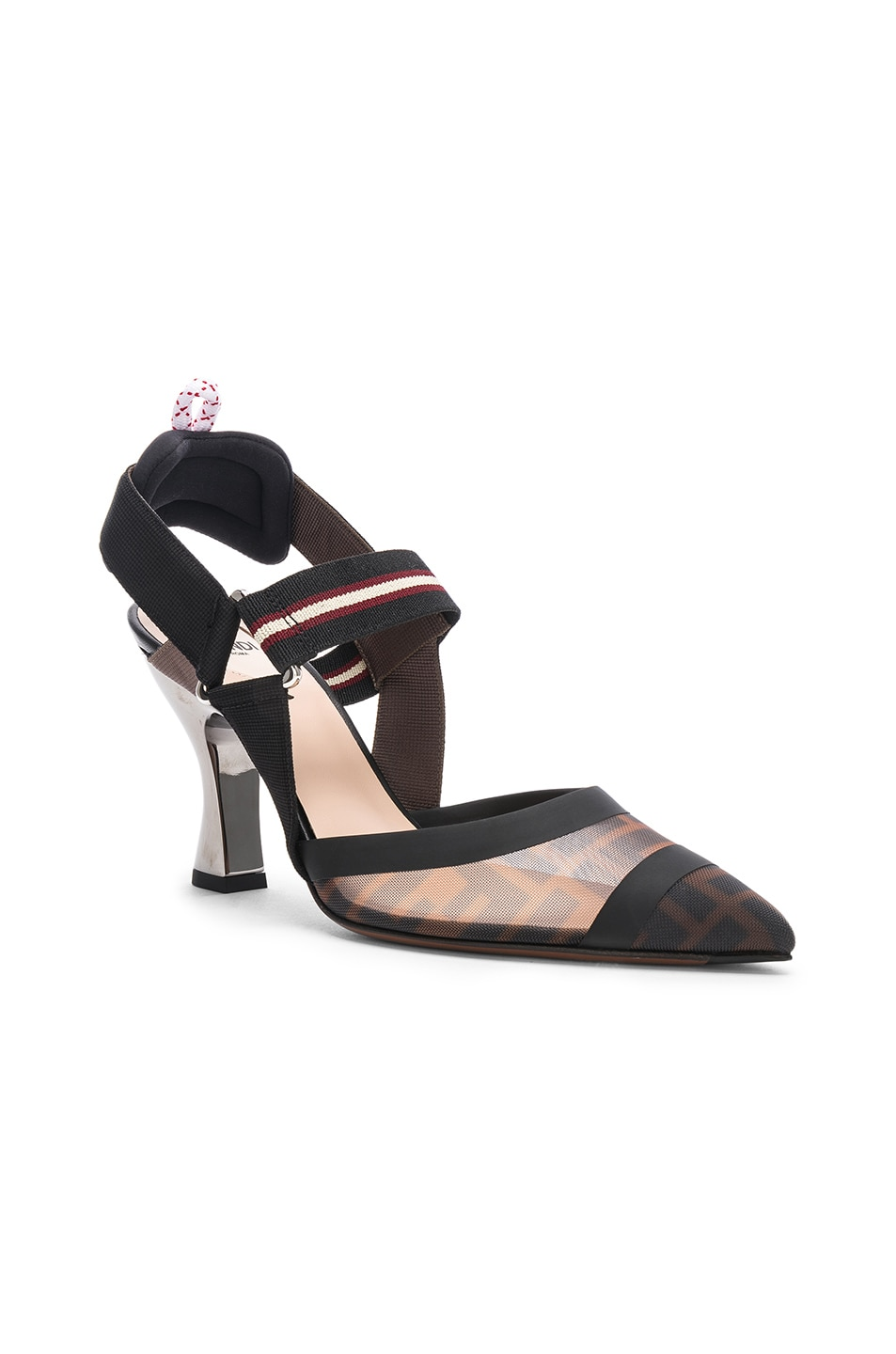 Image 2 of Fendi Colibri Slingback Heels in Black