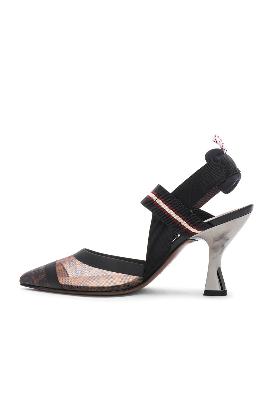 Image 5 of Fendi Colibri Slingback Heels in Black