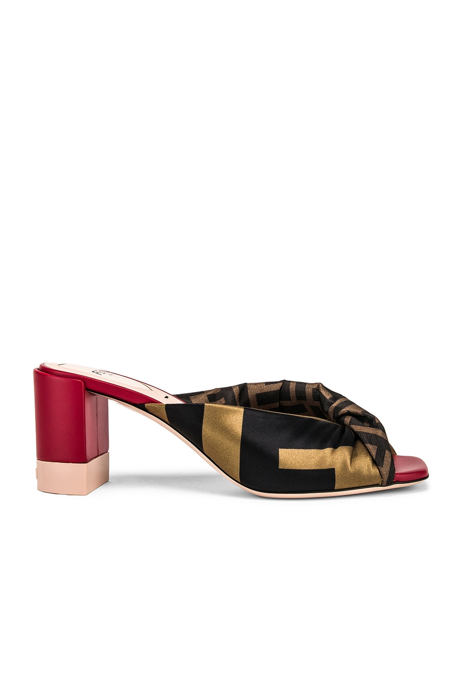 Image 1 of Fendi Logo Twist Mules in Red