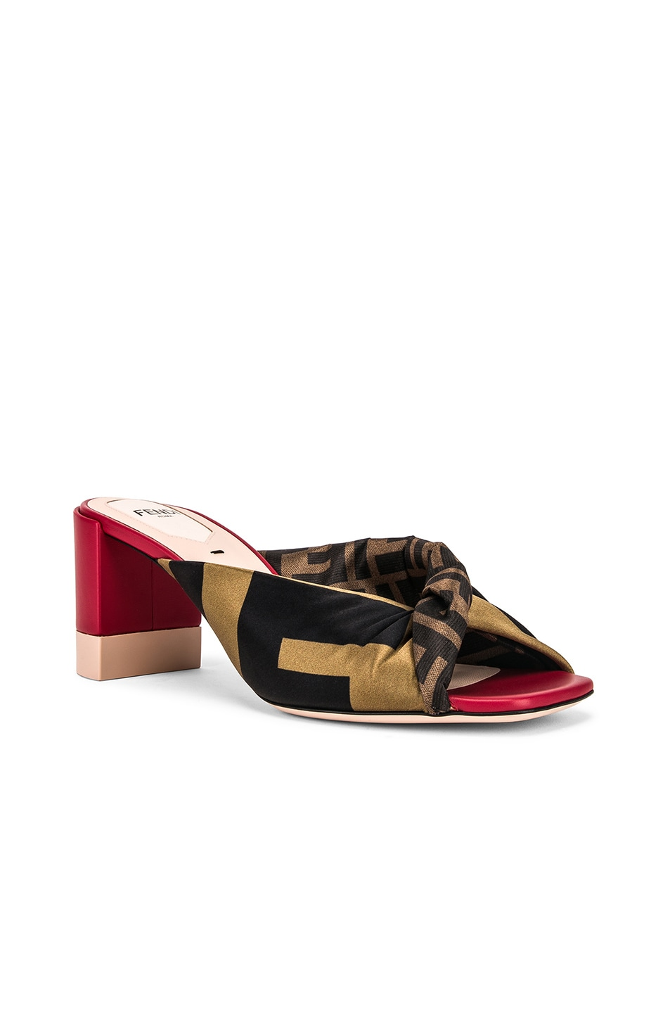 Image 2 of Fendi Logo Twist Mules in Red