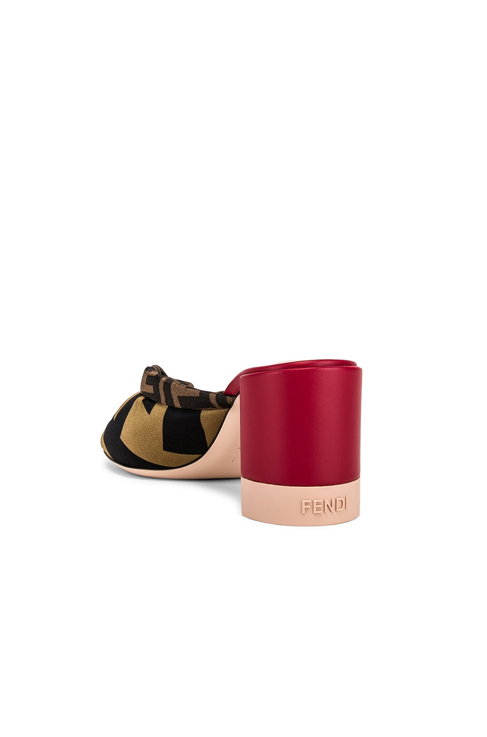 Image 3 of Fendi Logo Twist Mules in Red