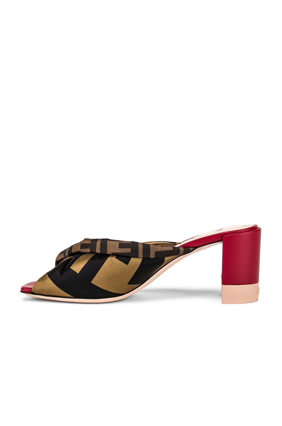 Image 5 of Fendi Logo Twist Mules in Red