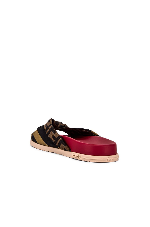 Image 3 of Fendi Logo Twist Sandals in Red