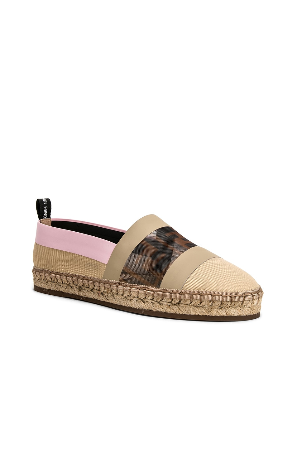 Image 2 of Fendi Mesh Espadrille Flats in Cream