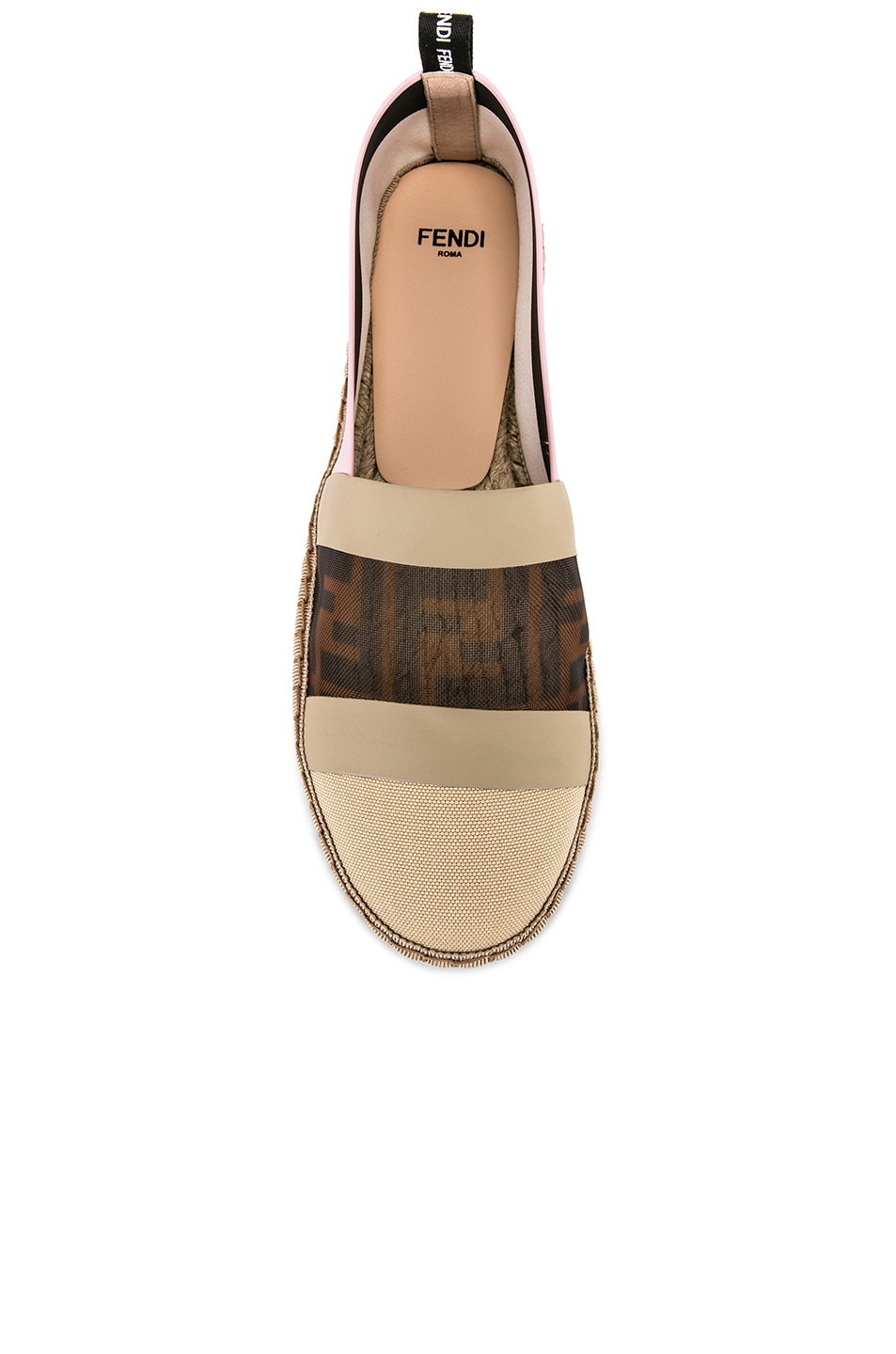 Image 4 of Fendi Mesh Espadrille Flats in Cream