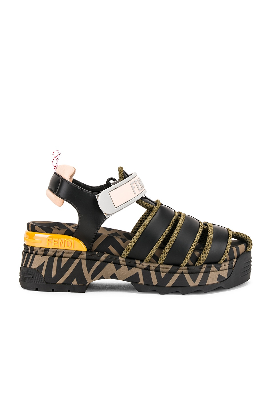 Image 2 of Fendi T Rex Sandals in Black