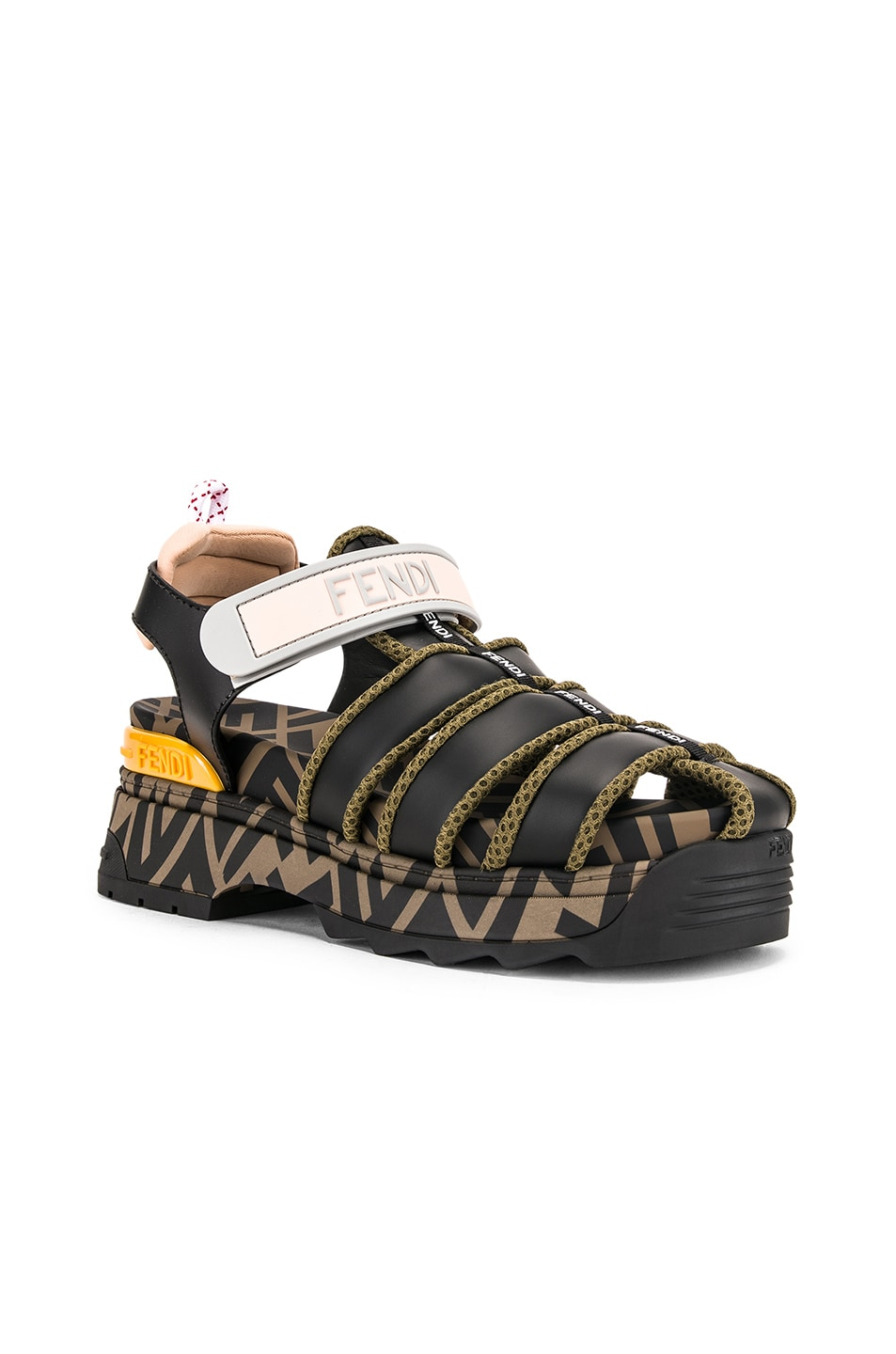 Image 3 of Fendi T Rex Sandals in Black