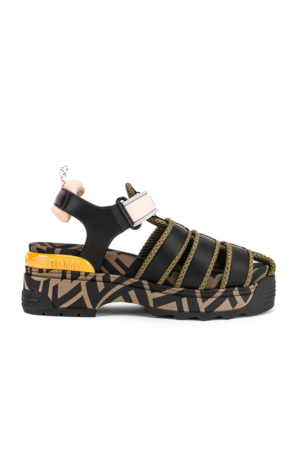 Image 6 of Fendi T Rex Sandals in Black