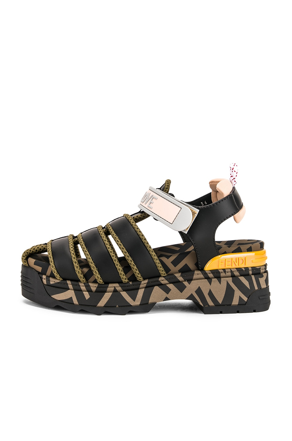Image 7 of Fendi T Rex Sandals in Black