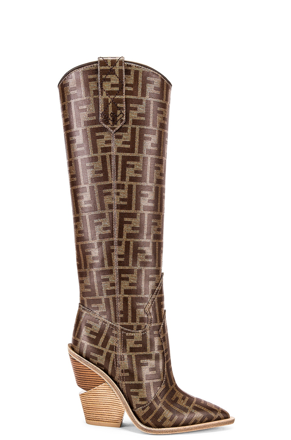 Image 1 of Fendi Logo Cowboy Boots in Brown