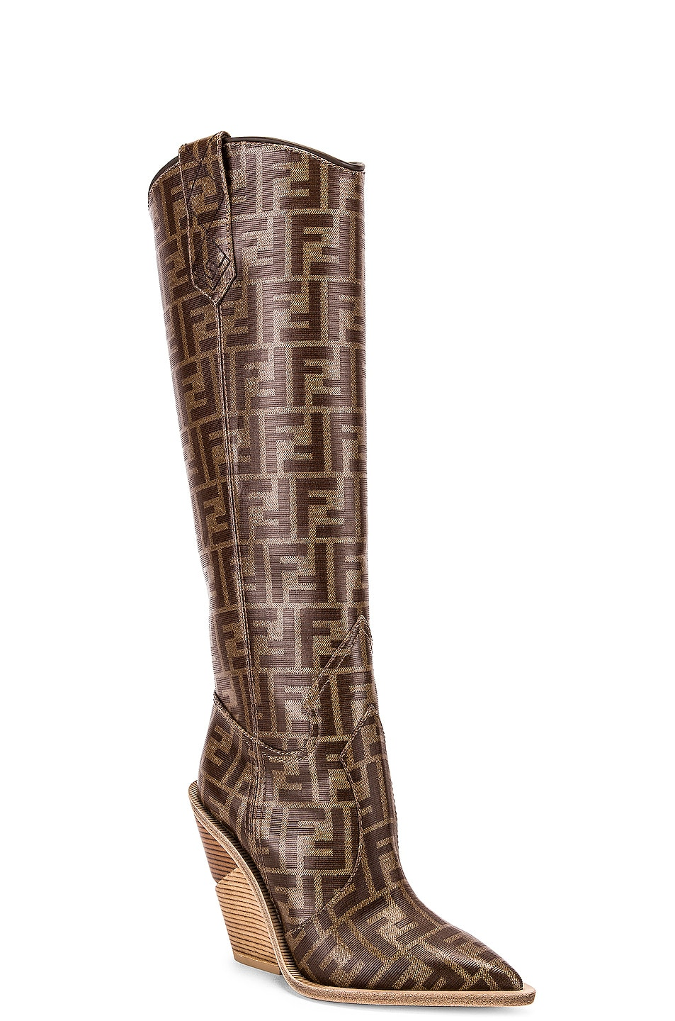Image 2 of Fendi Logo Cowboy Boots in Brown