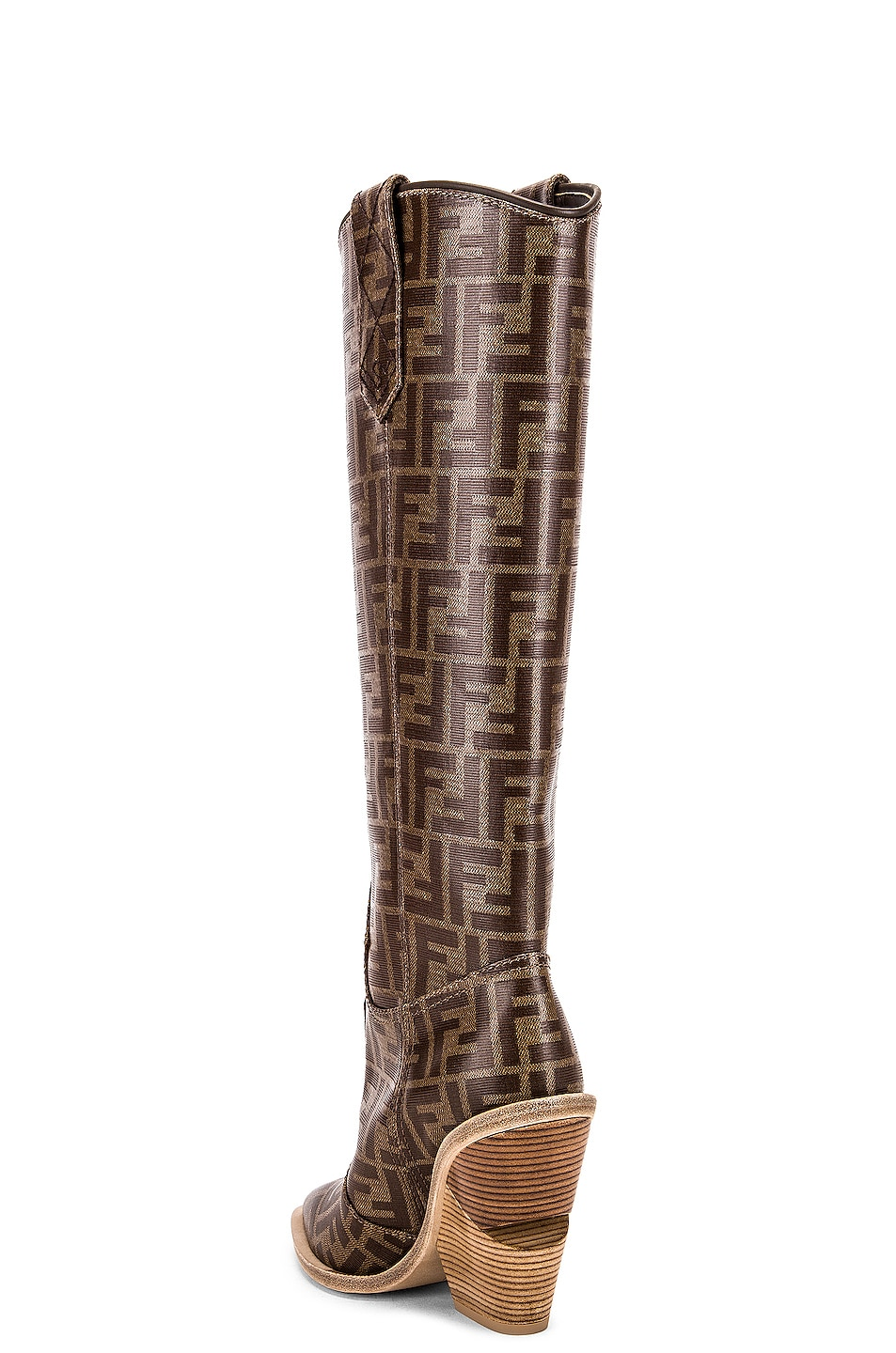 Image 3 of Fendi Logo Cowboy Boots in Brown