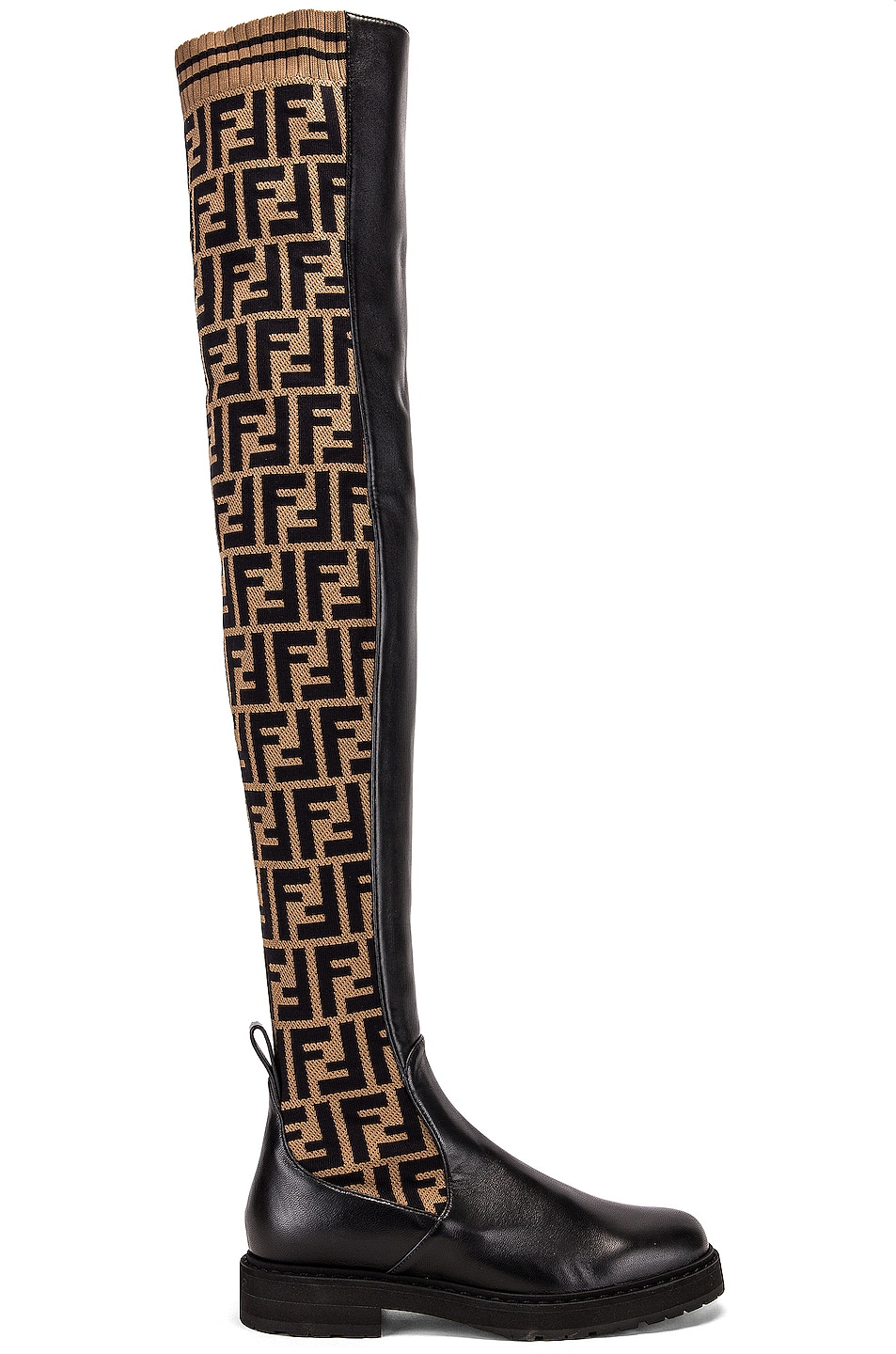 Image 1 of Fendi Logo Over the Knee Boots in Black & Brown