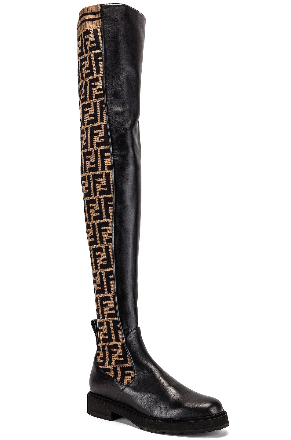 Image 2 of Fendi Logo Over the Knee Boots in Black & Brown