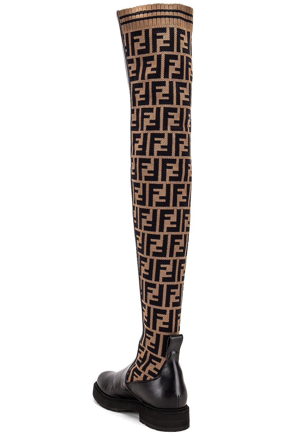 Image 3 of Fendi Logo Over the Knee Boots in Black & Brown