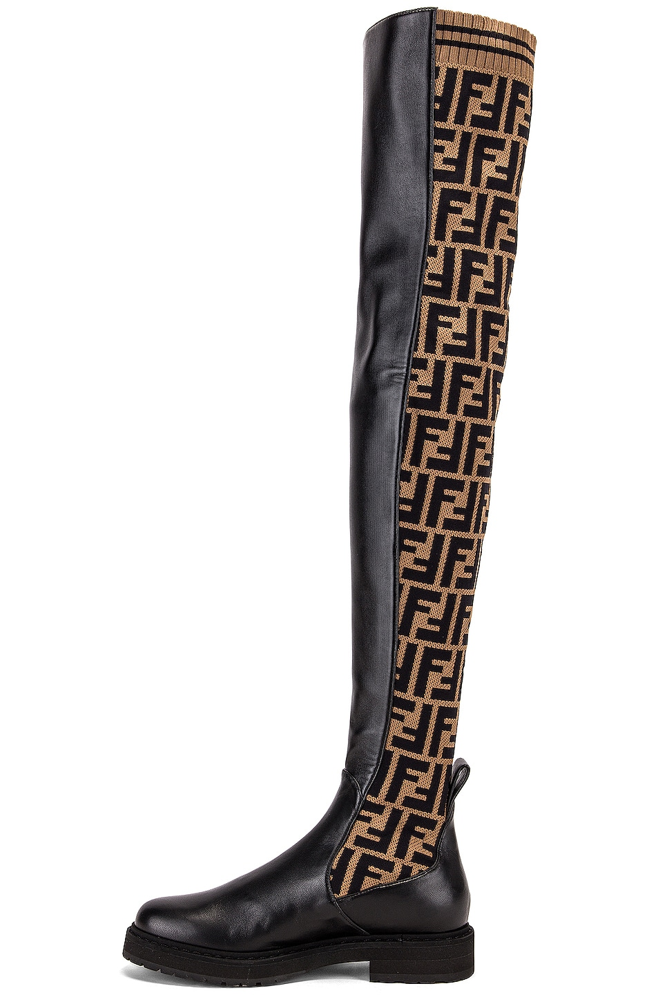 Image 5 of Fendi Logo Over the Knee Boots in Black & Brown
