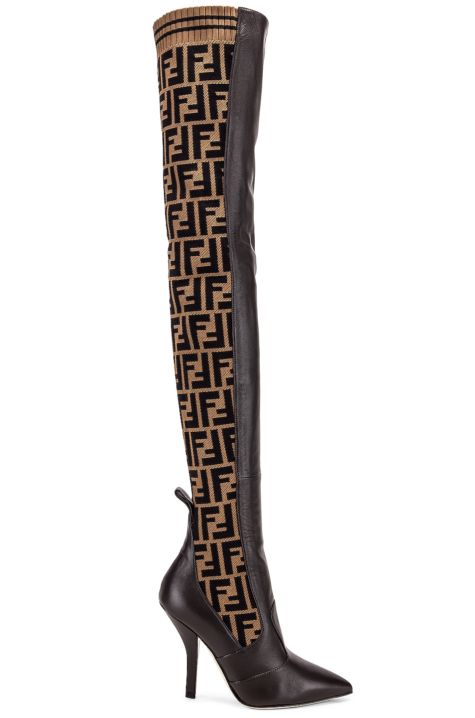 Image 1 of Fendi Logo Over the Knee Heel Boots in Black & Brown