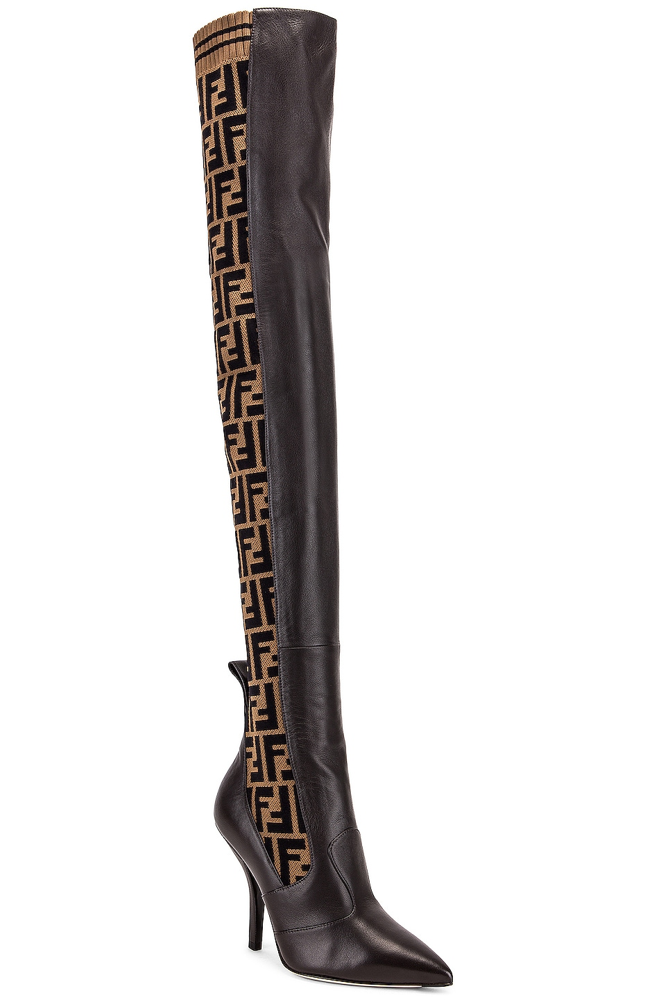 Image 2 of Fendi Logo Over the Knee Heel Boots in Black & Brown
