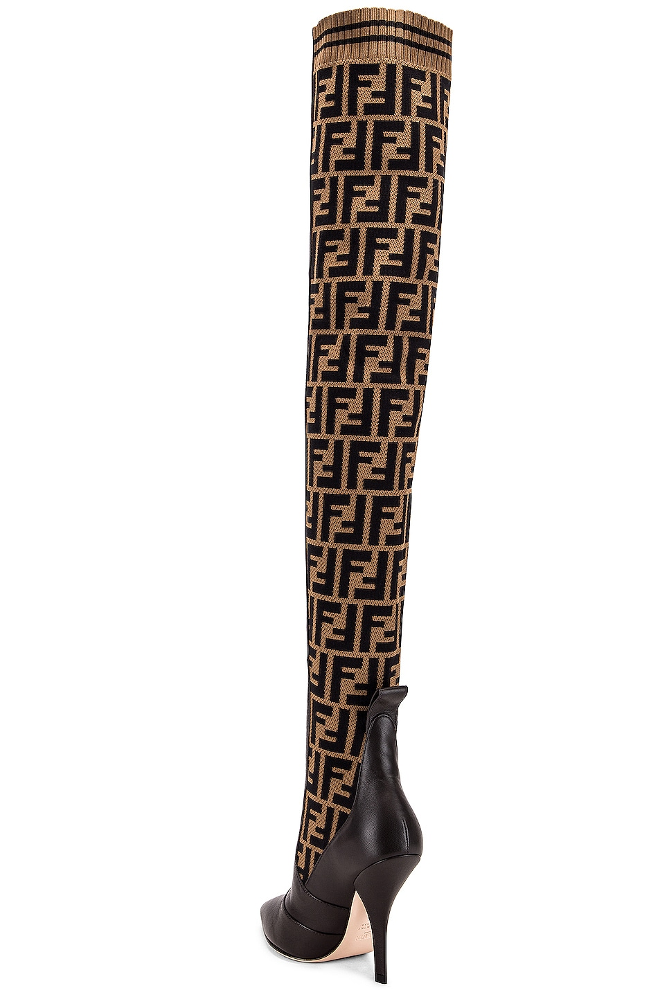 Image 3 of Fendi Logo Over the Knee Heel Boots in Black & Brown