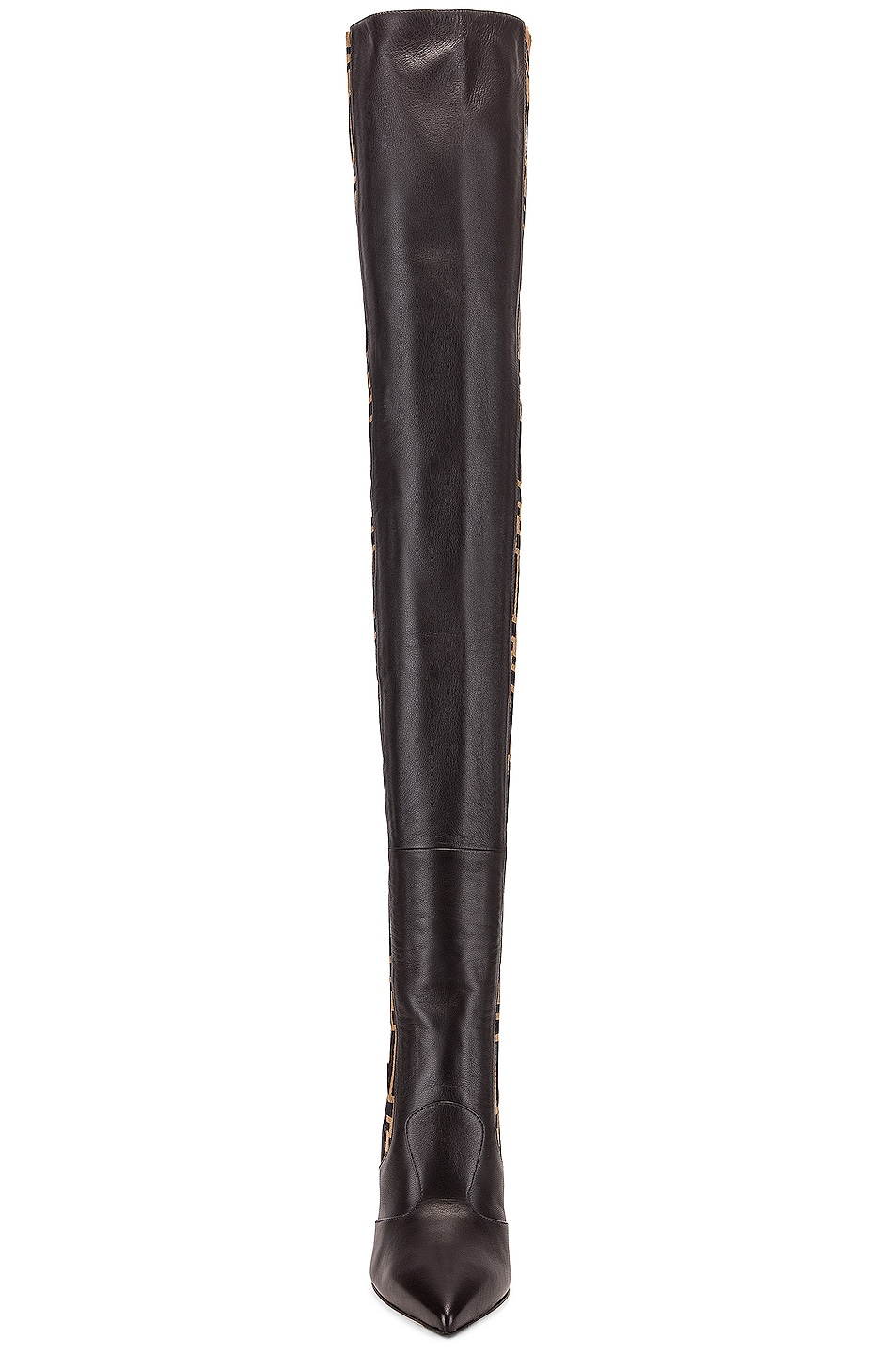 Image 4 of Fendi Logo Over the Knee Heel Boots in Black & Brown