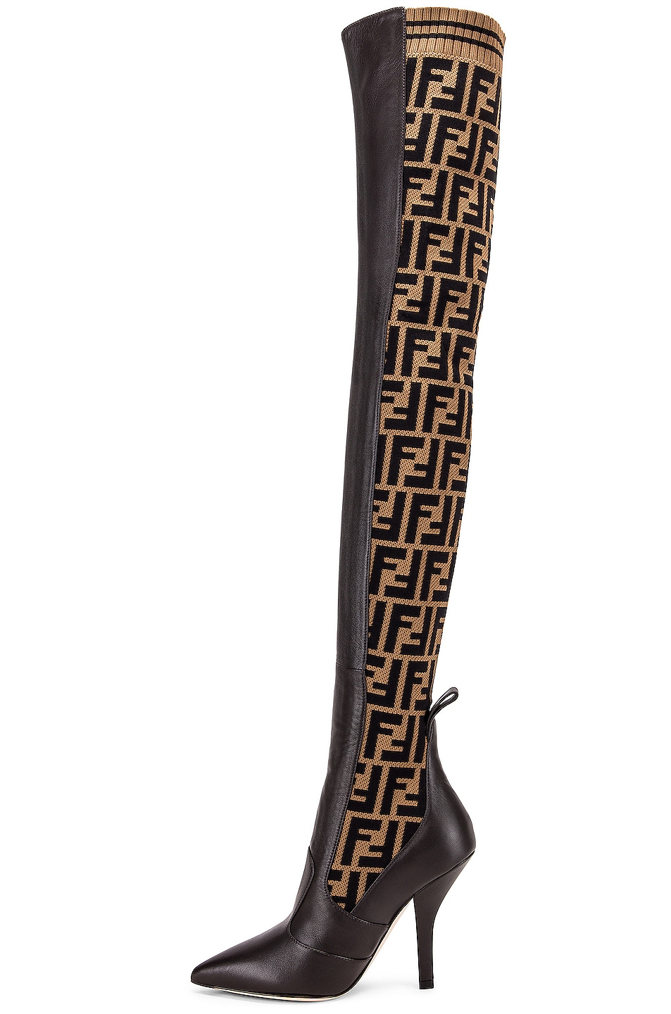 Image 5 of Fendi Logo Over the Knee Heel Boots in Black & Brown