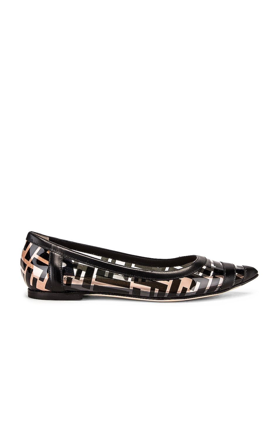 Image 1 of Fendi Logo Flats in Black