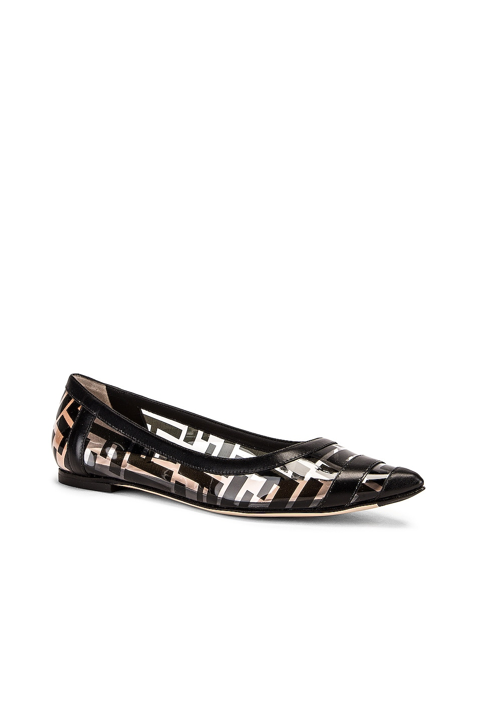 Image 2 of Fendi Logo Flats in Black