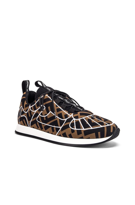 Image 2 of Fendi FFreedom Logo Sneakers in Brown & Black