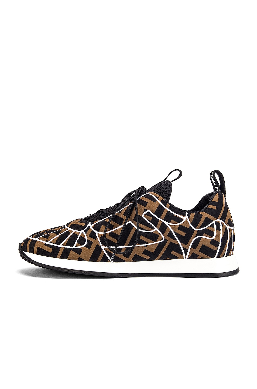 Image 5 of Fendi FFreedom Logo Sneakers in Brown & Black