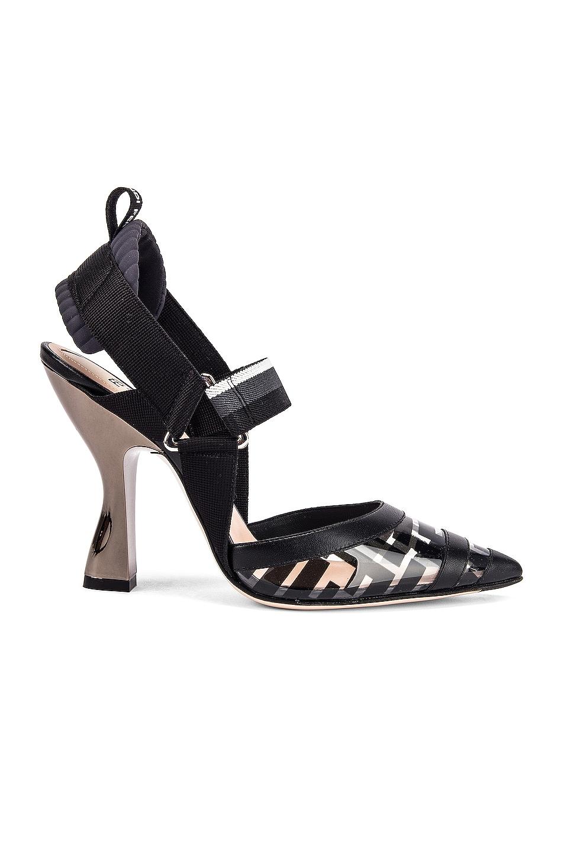 Image 1 of Fendi Logo Slingback Heels in Black