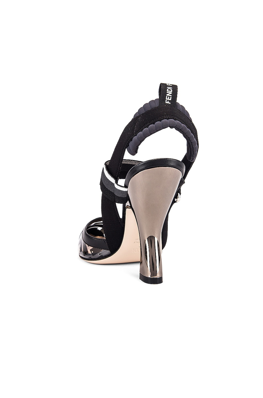 Image 3 of Fendi Logo Slingback Heels in Black