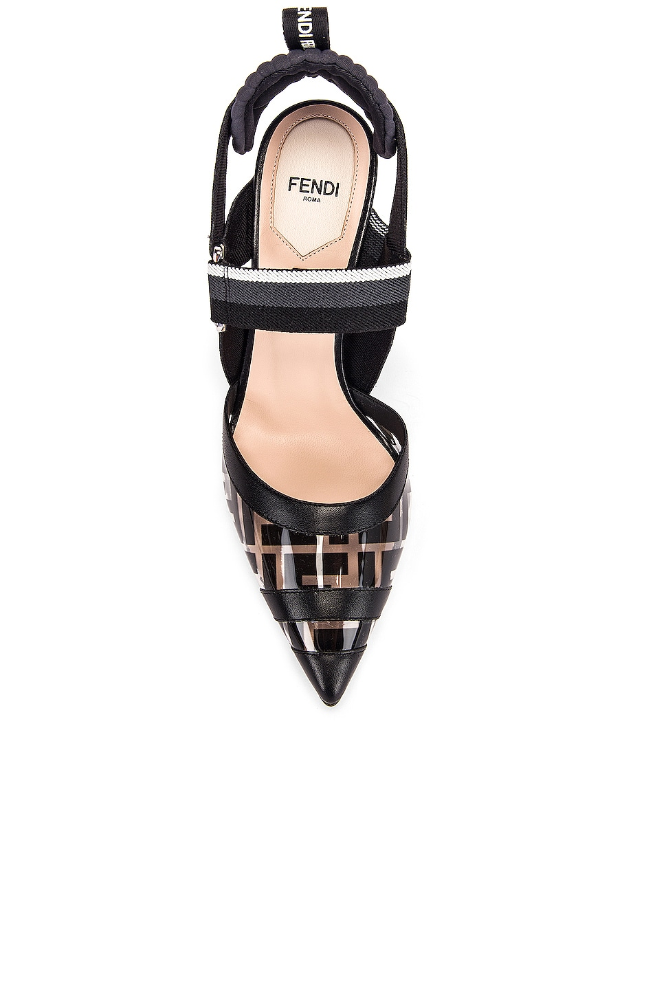 Image 4 of Fendi Logo Slingback Heels in Black