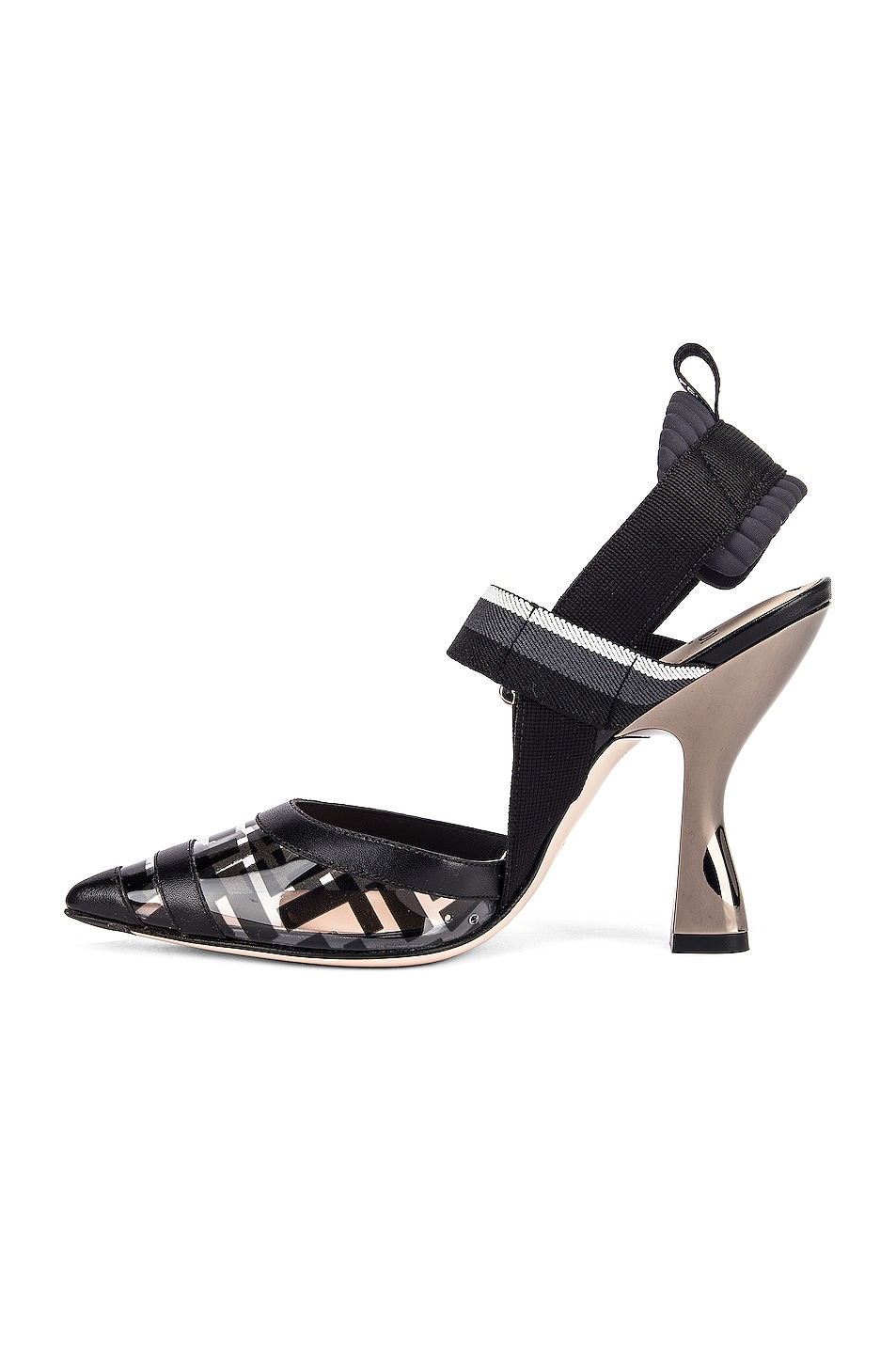 Image 5 of Fendi Logo Slingback Heels in Black