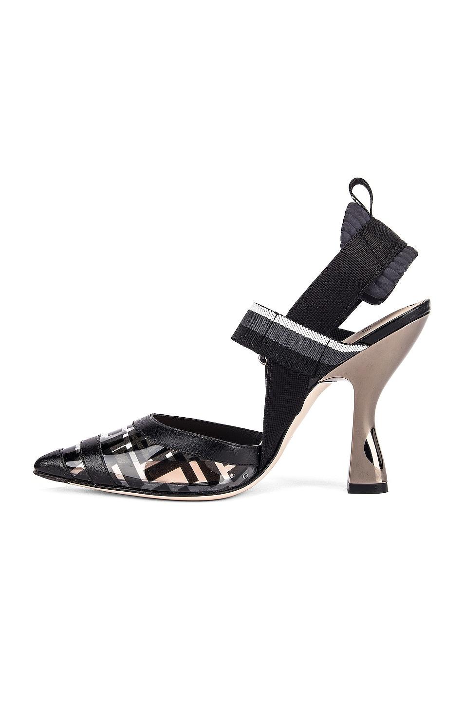 Image 5 of Fendi Logo Slingback Heels in Black