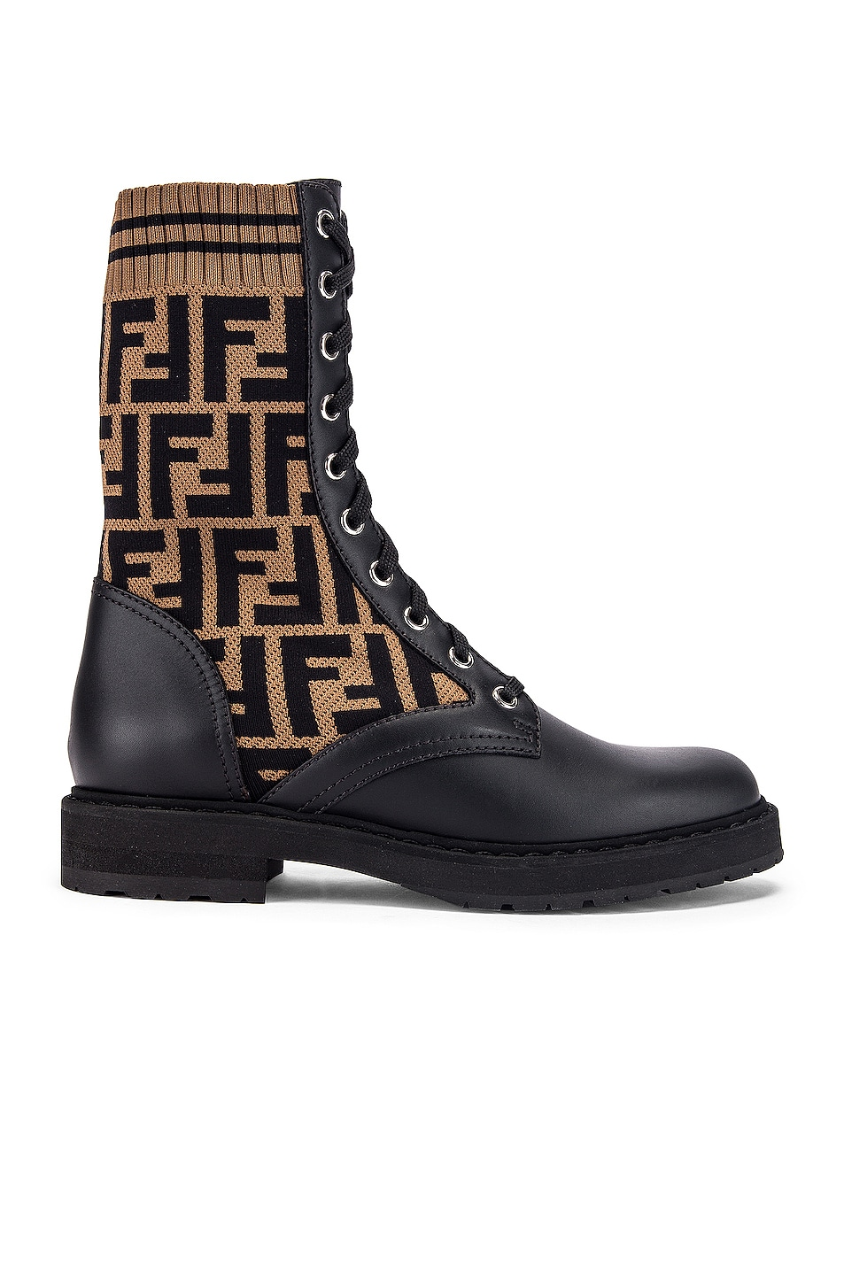 Image 1 of Fendi Logo Combat Boots in Black