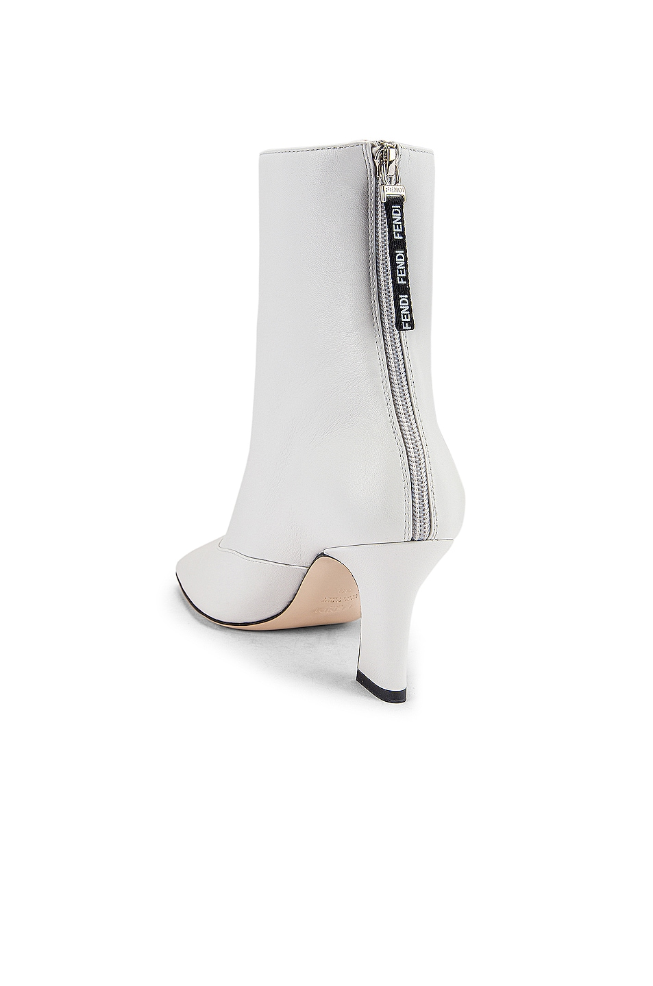 Image 3 of Fendi Leather Ankle Booties in White