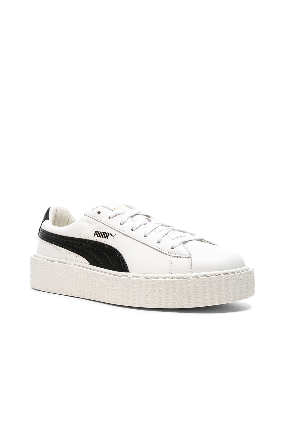 sports shoes 21a52 2c3b8 Fenty by Puma Cracked Leather Creepers in Black & White ...