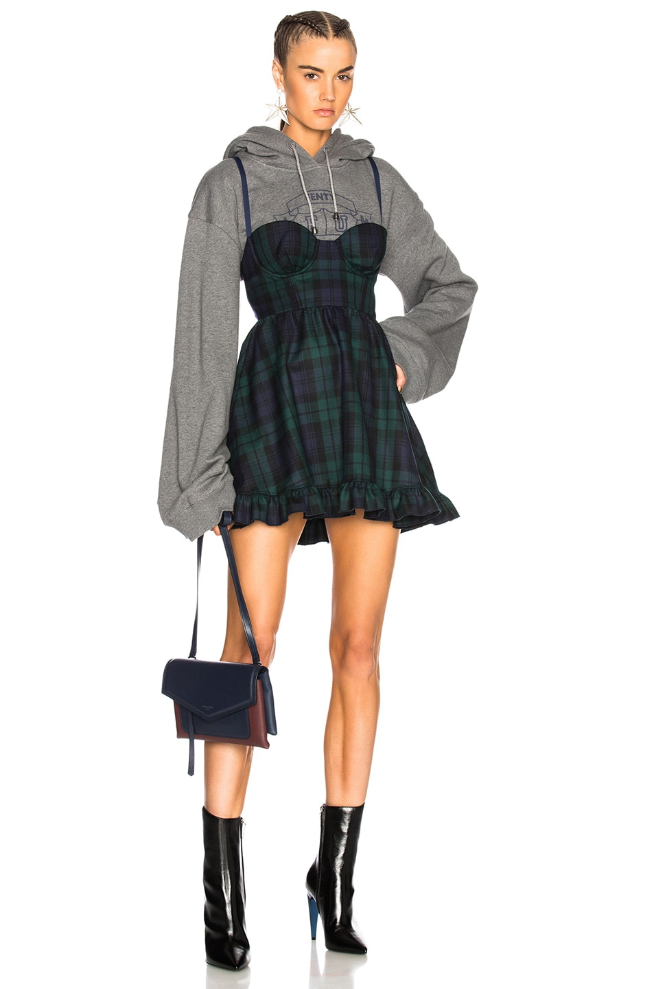 Fenty by Puma Dress with Hoodie in Gray,Checkered & Plaid,Green,Blue