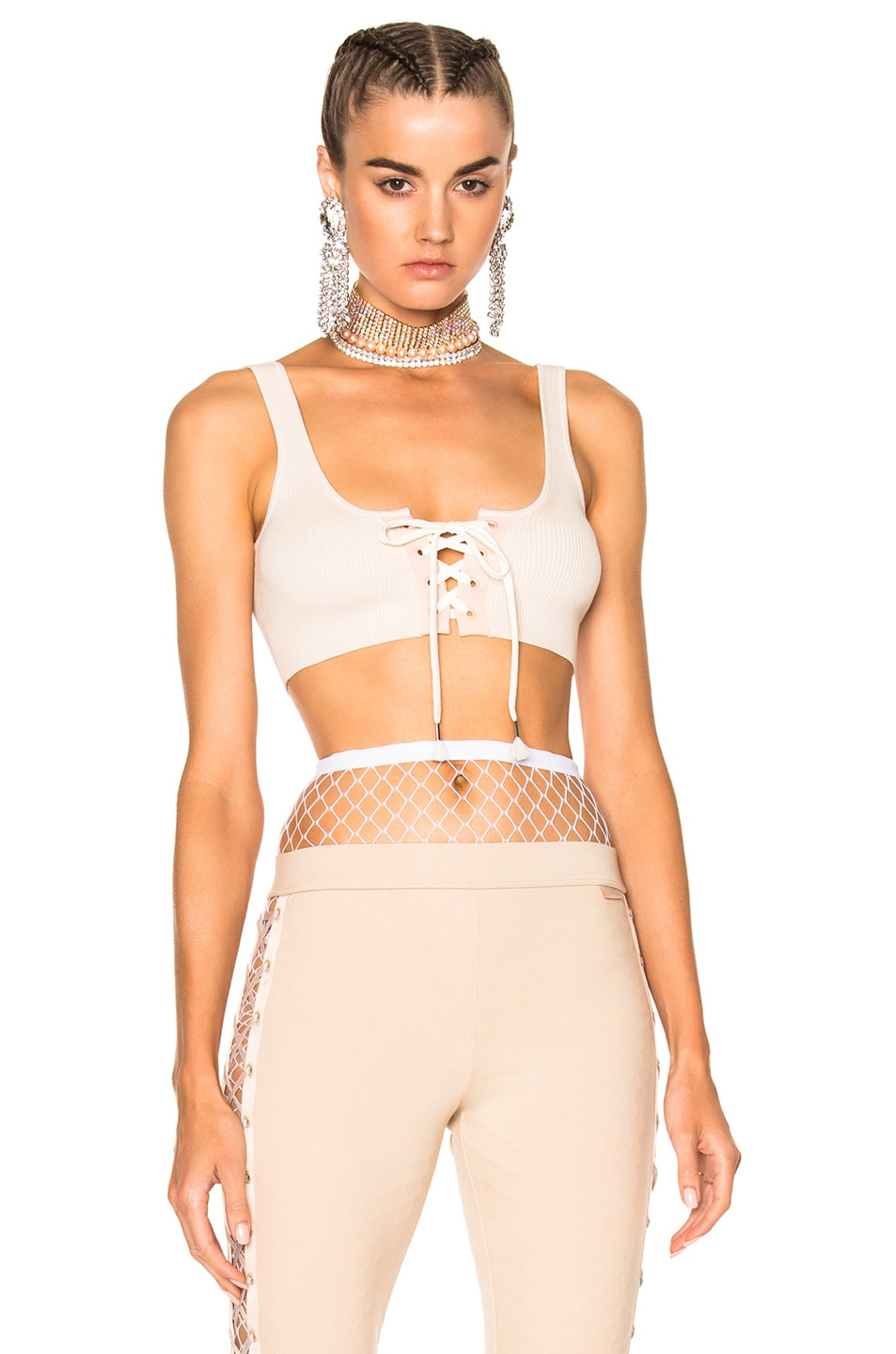 Image 1 of Fenty by Puma Lacing Long Bra in Pink Tint