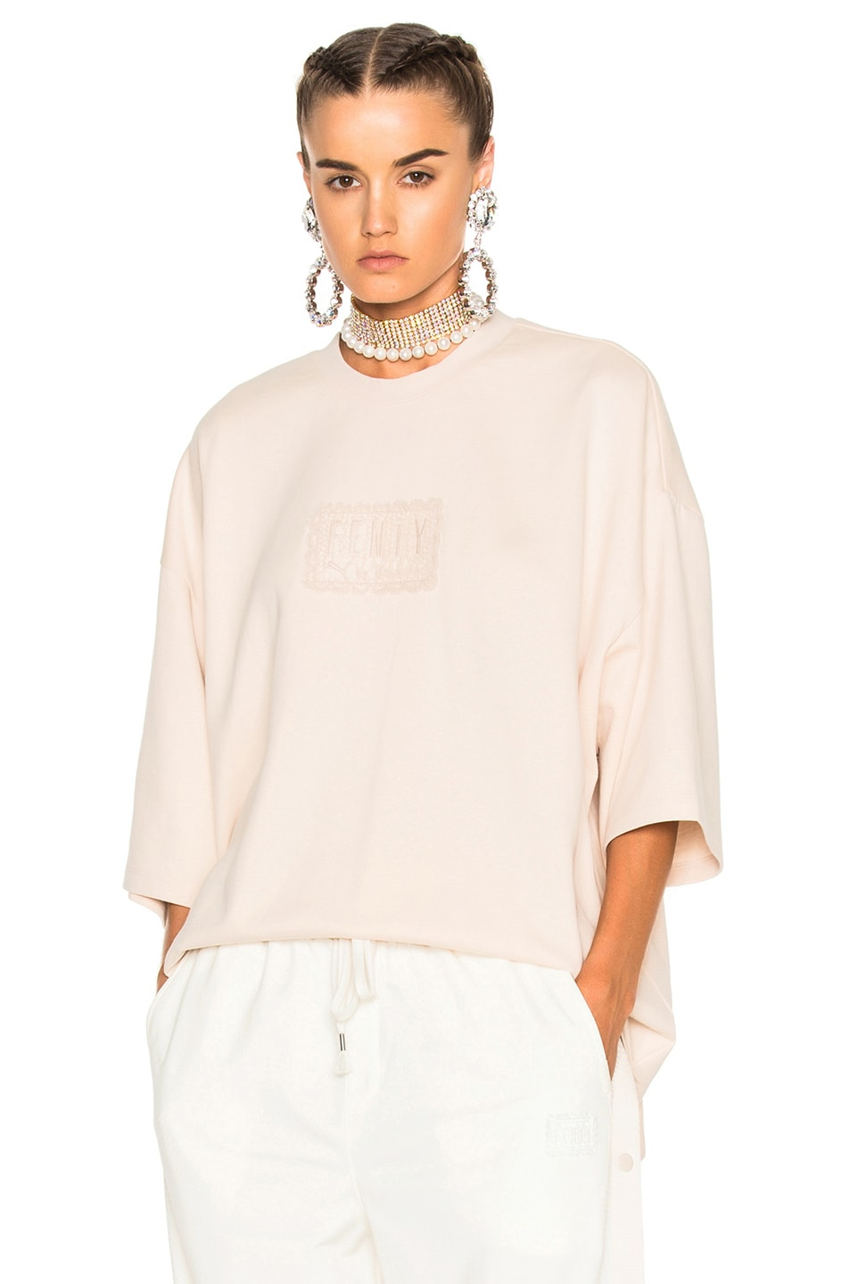 Image 1 of Fenty by Puma Oversized Crewneck Tee in Pink Tint