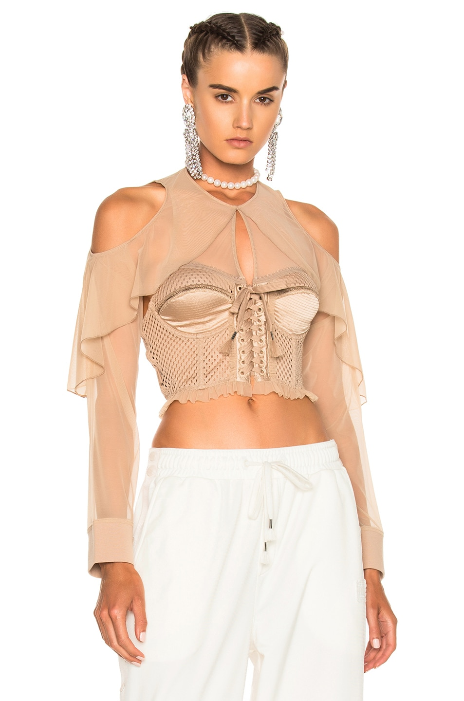 Image 1 of Fenty by Puma Mesh Bustier with Sleeves in Natural
