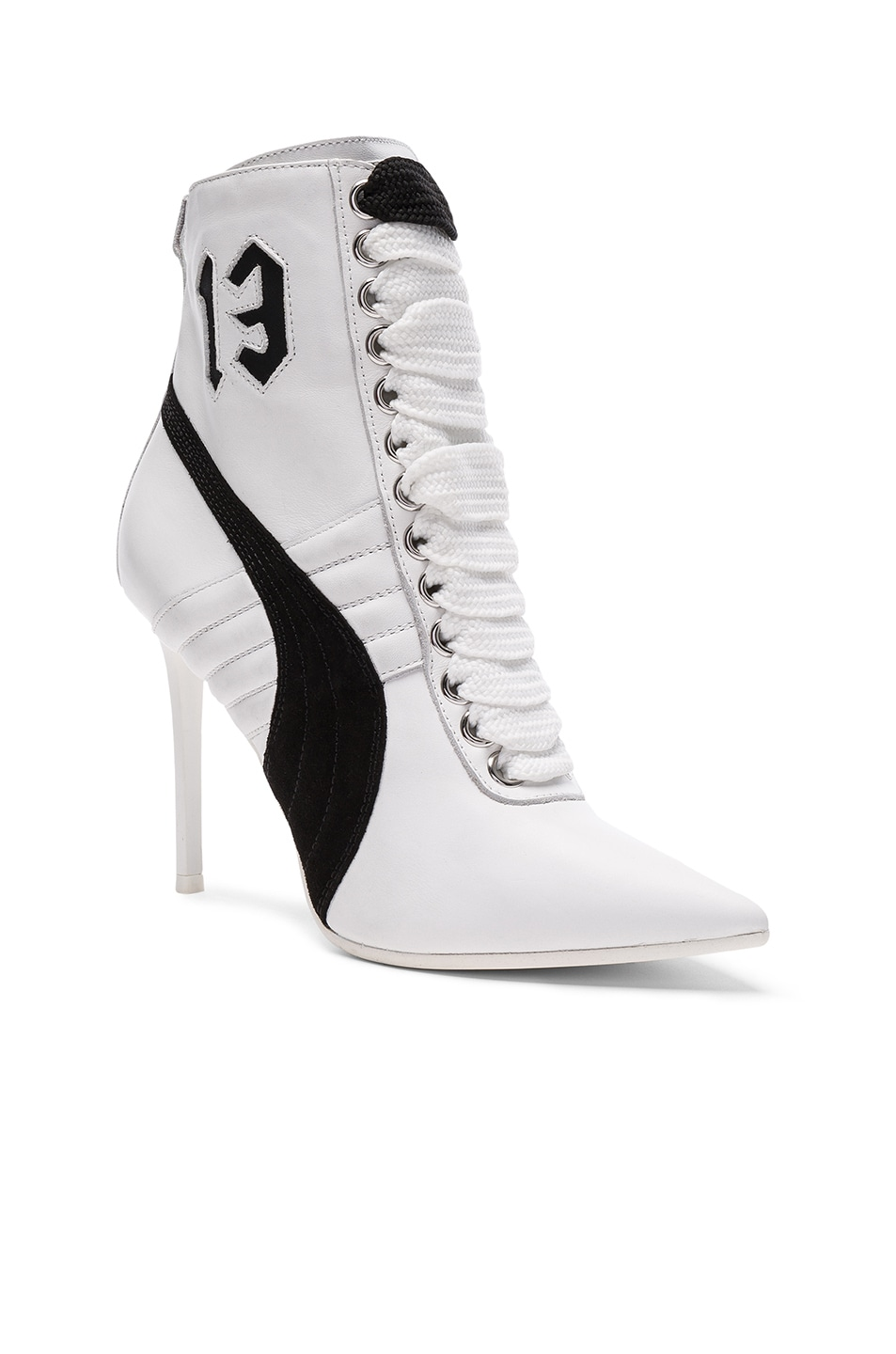 Image 2 of Fenty by Puma Leather High Heel Sneakers in White