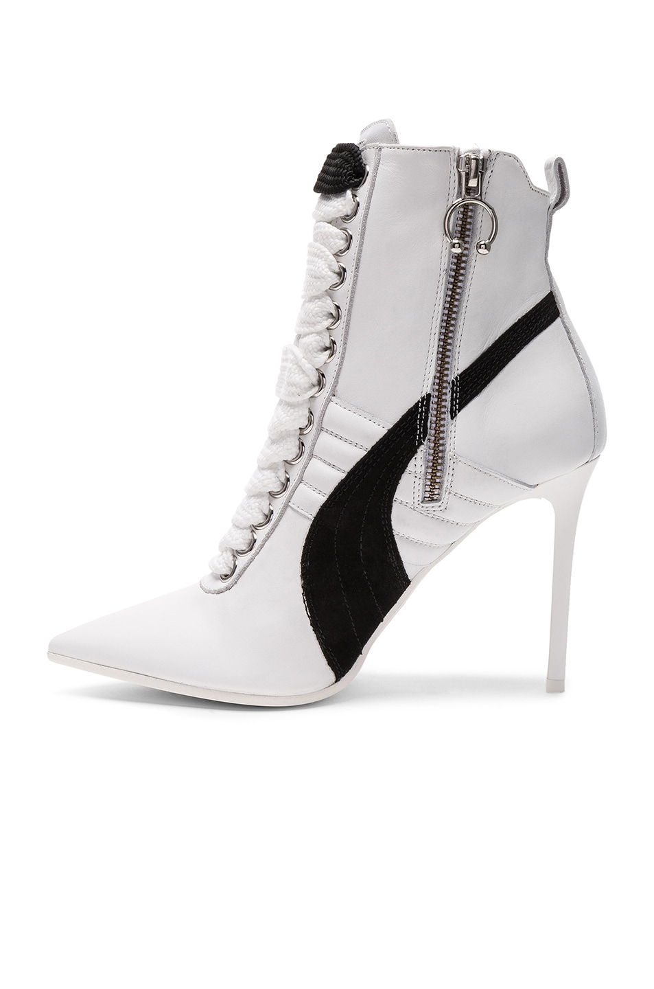 Image 5 of Fenty by Puma Leather High Heel Sneakers in White