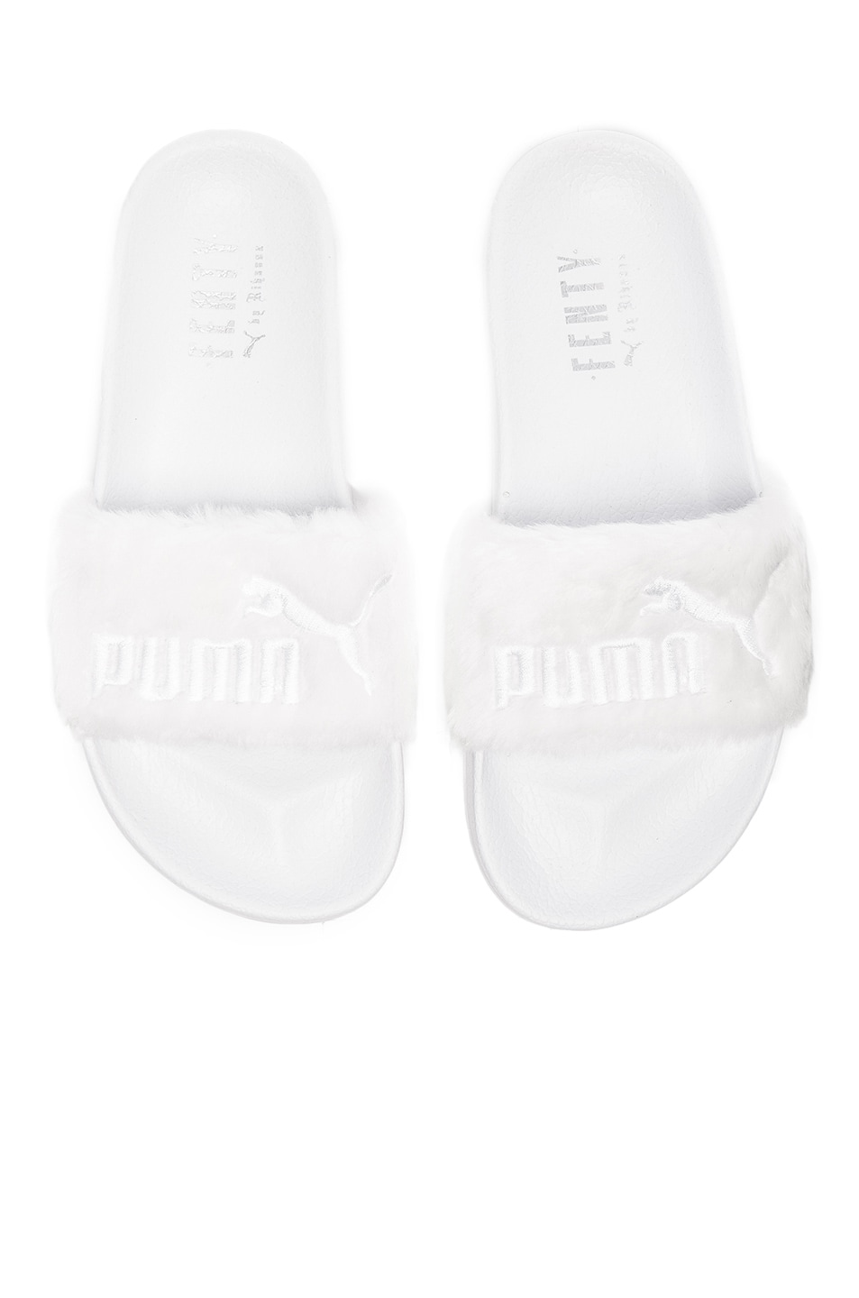 Image 1 of Fenty by Puma Leadcat Faux Fur Slide Sandals in White & Silver